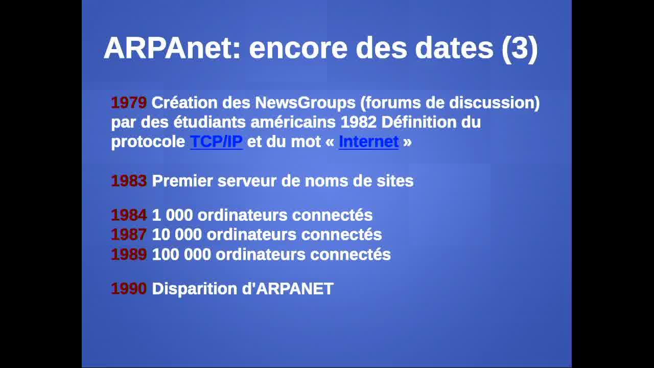 Et ARPANET devint INTERNET et ...explosat